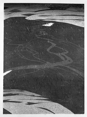 Deng Ming-Dao (American, born 1954). <em>Rain Basin</em>, 1978. Woodcut, Sheet: 31 5/8 x 24 1/8 in. (80.3 x 61.3 cm). Brooklyn Museum, Gift of ADI Gallery, 79.37.4. © artist or artist's estate (Photo: Brooklyn Museum, 79.37.4_bw.jpg)