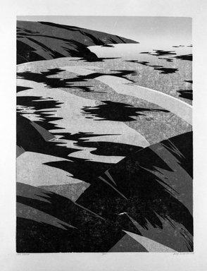 Deng Ming-Dao (American, born 1954). <em>Cloud Shadows</em>, 1978. Woodcut, Sheet: 31 1/2 x 24 1/2 in. (80 x 62.2 cm). Brooklyn Museum, Gift of ADI Gallery, 79.37.5. © artist or artist's estate (Photo: Brooklyn Museum, 79.37.5_bw.jpg)