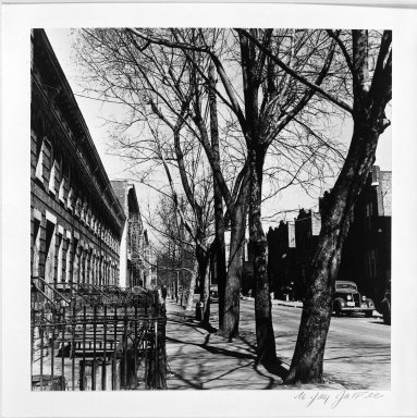 N. Jay Jaffee (American, 1921-1999). <em>Cleveland Street</em>, 1949. Gelatin silver photograph, 7 1/2 x 7 1/2 in. (19.1 x 19.1 cm). Brooklyn Museum, Gift of the artist, 79.47.2. © artist or artist's estate (Photo: Brooklyn Museum, 79.47.2_bw.jpg)