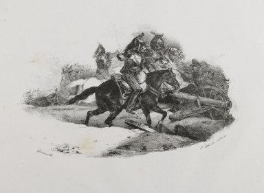 Théodore Géricault (French, 1791-1829). <em>Cuirassiers Chargeant Une Batterie D'Artillerie</em>, 1823. Lithograph on wove paper, Image: 4 13/16 x 7 1/2 in. (12.2 x 19 cm). Brooklyn Museum, Designated Purchase Fund, 79.64.1 (Photo: Brooklyn Museum, 79.64.1_PS6.jpg)