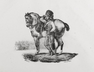 Théodore Géricault (French, 1791-1829). <em>Trompette De Hussards</em>, 1823. Lithograph on wove paper, Image: 4 x 5 in. (10.2 x 12.7 cm). Brooklyn Museum, Designated Purchase Fund, 79.64.2 (Photo: Brooklyn Museum, 79.64.2_PS6.jpg)