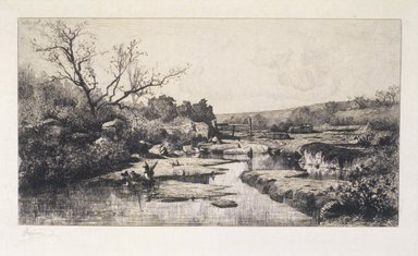 Adolphe Appian (French, 1818-1898). <em>The Source of the Albarine (Source de l'Albarine)</em>, 1870. Etching on paper, Image: 9 9/16 x 15 5/8 in. (24.3 x 39.7 cm). Brooklyn Museum, Designated Purchase Fund, 79.64.4 (Photo: Brooklyn Museum, 79.64.4_transp2710.jpg)