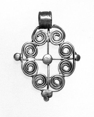 Amhara. <em>Pendant Cross</em>, 19th or 20th century. Silver, 1 3/4 x 1 1/4 in. (4.5 x 3.2 cm). Brooklyn Museum, Gift of George V. Corinaldi Jr., 79.72.12. Creative Commons-BY (Photo: Brooklyn Museum, 79.72.12_bw.jpg)