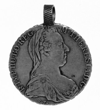 <em>Silver Coin (Thaler)</em>, 1780. Silver, diameter: 1 1/2 in. (3.8 cm). Brooklyn Museum, Gift of George V. Corinaldi Jr., 79.72.1. Creative Commons-BY (Photo: Brooklyn Museum, 79.72.1_bw.jpg)