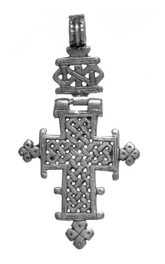 Amhara. <em>Pendant Cross</em>, 19th or 20th century. Silver, 2 5/8 x 1 3/8 in. (6.7 x 3.5 cm). Brooklyn Museum, Gift of George V. Corinaldi Jr., 79.72.22. Creative Commons-BY (Photo: Brooklyn Museum, 79.72.22_bw.jpg)