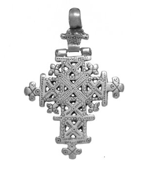 Amhara. <em>Pendant Cross</em>, 19th or 20th century. Silver, 2 1/2 x 1 3/4 in. (6.3 x 4.4 cm). Brooklyn Museum, Gift of George V. Corinaldi Jr., 79.72.23. Creative Commons-BY (Photo: Brooklyn Museum, 79.72.23_bw.jpg)