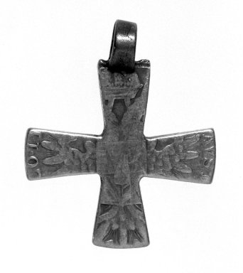 Amhara. <em>Pendant Cross</em>, 19th or 20th century. Silver, 1 7/8 x 1 1/2 in. (4.8 x 3.8 cm). Brooklyn Museum, Gift of George V. Corinaldi Jr., 79.72.2. Creative Commons-BY (Photo: Brooklyn Museum, 79.72.2_bw.jpg)