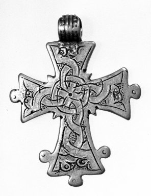 Amhara. <em>Pendant Cross</em>, 19th or 20th century. Silver, 2 7/8 x 1 7/8 in. (7.3 x 4.8 cm). Brooklyn Museum, Gift of George V. Corinaldi Jr., 79.72.35. Creative Commons-BY (Photo: Brooklyn Museum, 79.72.35_view1_bw.jpg)