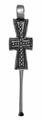 Amhara. <em>Pendant Cross with Ear Cleaner Extension</em>, 19th or 20th century. Silver, brass, 2 5/8 x 1/2 in. (6.7 x 1.3 cm). Brooklyn Museum, Gift of George V. Corinaldi Jr., 79.72.4. Creative Commons-BY (Photo: Brooklyn Museum, 79.72.4_view1_bw.jpg)