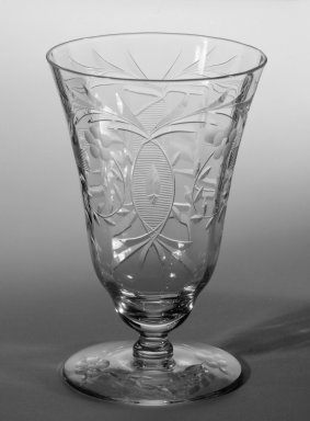 Libbey Glass Company (founded 1888). <em>One Piece from Table Setting</em>, ca. 1933. Cut and engraved crystal, 4 1/8 in. (10.5 cm). Brooklyn Museum, Gift of Mrs. Homer Kripke, 79.78.3. Creative Commons-BY (Photo: Brooklyn Museum, 79.78.3_bw.jpg)