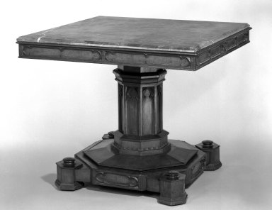 Crawford Riddell. <em>Center Table</em>, ca. 1840-1845. Rosewood,  marble, 29 3/8 x 35 x 35 in.  (74.6 x 88.9 x 88.9 cm). Brooklyn Museum, Rand-Milligan Fund, 79.80. Creative Commons-BY (Photo: Brooklyn Museum, 79.80_bw_IMLS.jpg)