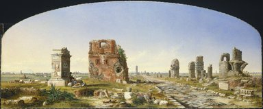 John Linton Chapman (American, 1839-1905). <em>The Appian Way</em>, 1869. Oil on canvas, frame: 38 3/4 × 81 5/16 × 3 5/8 in. (98.4 × 206.5 × 9.2 cm). Brooklyn Museum, Gift of The Roebling Society, Carll H. de Silver Fund, Caroline H. Polhemus Fund, A. Augustus Healy Fund, Frederick Loeser Fund, 79.87 (Photo: Brooklyn Museum, 79.87_SL1.jpg)
