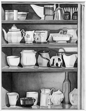Laura Shechter (American, born 1944). <em>Shelves</em>, 1978. Watercolor on paper, Image: 9 15/16 x 7 11/16 in. (25.2 x 19.5 cm). Brooklyn Museum, Frank Sherman Benson Fund, 79.88. © artist or artist's estate (Photo: Brooklyn Museum, 79.88_bw.jpg)