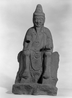 <em>Tenjin (The God of Literature)</em>, 18th century. Stone, 18 x 9 in. (45.7 x 22.9 cm). Brooklyn Museum, Gift of Dr. Andrew Dahl, 80.115.1. Creative Commons-BY (Photo: Brooklyn Museum, 80.115.1_bw.jpg)