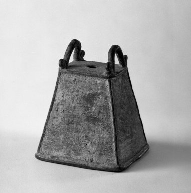 <em>Bell</em>, 13th-14th century. Bronze, 3 1/4 x 2 5/8 in. (8.3 x 6.7 cm). Brooklyn Museum, Gift of Dr. Andrew Dahl, 80.115.2. Creative Commons-BY (Photo: Brooklyn Museum, 80.115.2_bw.jpg)