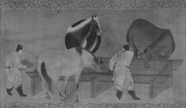 <em>Horses and Grooms (Hanging Scroll)</em>, 17th century. Hanging scroll, ink and color on silk, Image: 12 1/2 x 24 7/8 in. (31.8 x 63.2 cm). Brooklyn Museum, Gift of Stanley J. Love, 80.118 (Photo: Brooklyn Museum, 80.118_bw_IMLS.jpg)