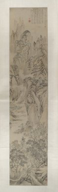 Hua Yan (Chinese, 1682-1765). <em>Landscape</em>, 1727. Ink and light color on paper, Image: 69 1/2 x 14 7/8 in. (176.5 x 37.8 cm). Brooklyn Museum, Anonymous gift, 80.119.1 (Photo: Brooklyn Museum, 80.119.1_PS6.jpg)