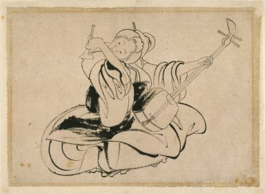 Katsushika Hokusai (Japanese, 1760-1849). <em>Seated Woman with Shamisen</em>, ca. 1825. Ink on paper, 9 13/16 x 13 7/16 in. (25 x 34.2 cm). Brooklyn Museum, Gift of Mr. and Mrs. Peter P. Pessutti, 80.11 (Photo: Brooklyn Museum, 80.11_IMLS_SL2.jpg)