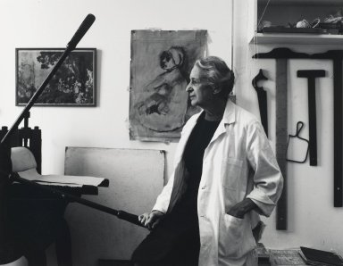 Arthur Mones (American, 1919-1998). <em>Isabel Bishop</em>, 1979. Gelatin silver photograph, 10 1/2 × 13 1/2 in. (26.7 × 34.3 cm). Brooklyn Museum, Gift of George Feher, 80.130.1. © artist or artist's estate (Photo: Brooklyn Museum, 80.130.1_PS4.jpg)