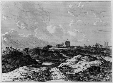 John Crome (British, 1768-1821). <em>Mousehold Heath, Norwich</em>, ca. 1818-1820. Etching on wove paper, Plate: 22 1/2 x 30 1/2 in. (57.2 x 77.5 cm). Brooklyn Museum, Designated Purchase Fund, 80.143.1 (Photo: Brooklyn Museum, 80.143.1_bw.jpg)