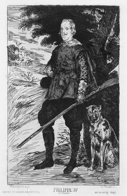 Édouard Manet (French, 1832-1883). <em>Philippe IV (Roi d'Espagne)</em>, 1861-1862. Etching with aquatint on laid Holland paper, 13 7/8 x 9 3/8 in. (35.2 x 23.8 cm). Brooklyn Museum, Designated Purchase Fund, 80.148 (Photo: Brooklyn Museum, 80.148_bw.jpg)