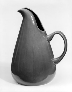 Russel Wright (American, 1904-1976). <em>Pitcher</em>, Designed 1937; Manufactured: ca. 1938. Glazed earthenware, 10 1/2 x 8 1/2 x 6 1/2 in. (26.7 x 21.6 x 16.5 cm). Brooklyn Museum, Gift of Andrew and Ina Feuerstein, 80.169.1. Creative Commons-BY (Photo: Brooklyn Museum, 80.169.1_bw.jpg)