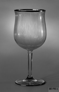 <em>Drinking Vessel</em>, ca. 1930. Colorless and blue glass, height: 6 3/4 in. (17.1 cm); diameter: 3 in. (7.6 cm). Brooklyn Museum, Gift of Mrs. Walter N. Pharr, 80.170.1. Creative Commons-BY (Photo: Brooklyn Museum, 80.170.1_bw.jpg)