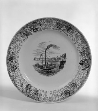 Thomas Godwin. <em>Plate</em>, ca. 1840. Earthenware, Diameter: 8 1/2 in. (21.6 cm). Brooklyn Museum, Gift of Cecile and Jonathan Zorach, 80.172. Creative Commons-BY (Photo: Brooklyn Museum, 80.172_bw.jpg)