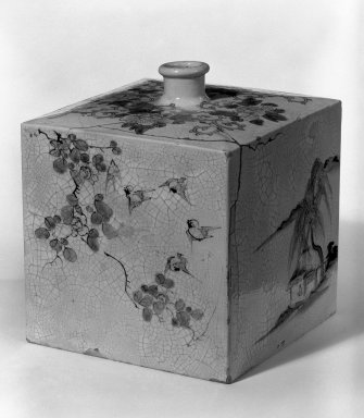 <em>Wine Bottle</em>, late 19th century. Awata ware, 7 x 5 3/4 in. (17.8 x 14.6 cm). Brooklyn Museum, Gift of Michael Abraham, 80.174. Creative Commons-BY (Photo: Brooklyn Museum, 80.174_bw.jpg)