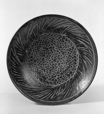 Shimaoka Tatsuzo (Japanese, 1919-2007). <em>Plate</em>, ca. 1970. Stoneware, 2 5/8 x 12 in. (6.7 x 30.5 cm). Brooklyn Museum, Gift of Sidney B. Cardozo, Jr., 80.175.1. Creative Commons-BY (Photo: Brooklyn Museum, 80.175.1_bw.jpg)