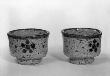<em>Pair of Sake Cups</em>, ca. 1970. Glazed stoneware, Each: 2 x 2 3/4 in. (5.1 x 7 cm). Brooklyn Museum, Gift of Sidney B. Cardozo, Jr., 80.175.8. Creative Commons-BY (Photo: Brooklyn Museum, 80.175.8_bw.jpg)