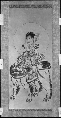 <em>Monju</em>, 16th century. Hanging scroll: Ink on paper, Image: 37 3/8 x 15 3/4 in. (94.9 x 40 cm). Brooklyn Museum, Gift of Bernice and Robert Dickes, 80.176 (Photo: Brooklyn Museum, 80.176_bw_IMLS.jpg)
