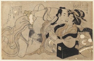Kitagawa Utamaro (Japanese, 1753-1806). <em>Amorous Couple</em>, ca. 1800. Color woodblock print on paper, 8 7/8 x 13 5/8 in. (22.5 x 34.6 cm). Brooklyn Museum, Gift of Jack Hentel, 80.177.3 (Photo: Brooklyn Museum, 80.177.3_IMLS_PS3.jpg)
