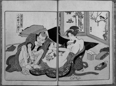 """Yanagawa Shigenobu (1787-1832). <em>Shamisen Junicho-shi</em>, ca. 1820. """"Shamisen Juni Cho-shi"""". Yanagawa Shigenobu, 10 1/8 x 7 3/16 in. (25.7 x 18.3 cm) each. Brooklyn Museum, Gift of Jack Hentel, 80.177.4 (Photo: Brooklyn Museum, 80.177.4_page3_bw_IMLS.jpg)"""