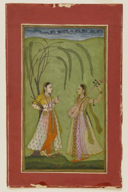Indian. <em>Two Ladies in a Landscape</em>, ca. 1725. Opaque watercolor on paper, sheet: 8 11/16 x 5 1/2 in.  (22.1 x 14.0 cm). Brooklyn Museum, Anonymous gift, 80.179 (Photo: Brooklyn Museum, 80.179_IMLS_PS4.jpg)