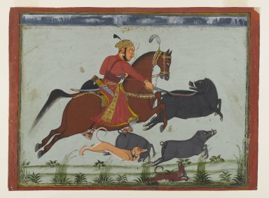 Indian. <em>Maharaja Pratap Singh II of Mewar Hunting Boar</em>, ca. 1750-1775. Opaque watercolor, gold, and silver on paper, sheet: 9 3/4 x 13 5/16 in.  (24.8 x 33.8 cm). Brooklyn Museum, Anonymous gift, 80.180.2 (Photo: Brooklyn Museum, 80.180.2_IMLS_PS4.jpg)