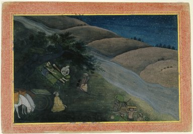 Indian. <em>First Night in Exile, Page from a Dispersed Ramayana Series</em>, ca. 1775-1780. Opaque watercolor on paper, sheet: 9 5/8 x 13 7/8 in.  (24.4 x 35.2 cm). Brooklyn Museum, Gift of Kaywin Lehman Smith, 80.181 (Photo: Brooklyn Museum, 80.181_IMLS_SL2.jpg)