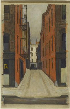 Armin Landeck (American, 1905-1984). <em>Stuyvesant Alley</em>, 1940. Tempera on paper, 29 13/16 x 18 15/16 in. (75.7 x 48.1 cm). Brooklyn Museum, Gift of Mr. and Mrs. Sid Feinberg, 80.190.1. © artist or artist's estate (Photo: Brooklyn Museum, 80.190.1_PS2.jpg)