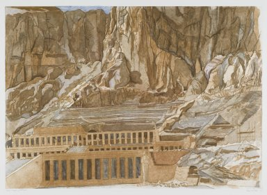 Philip Pearlstein (American, born 1924). <em>Temple of Hatshepsut</em>, 1979. Sugar-lift aquatint and roulette on white wove paper, Plate: 23 7/8 x 33 3/8 in. (60.7 x 84.7 cm). Brooklyn Museum, Gift of Gerald Farber, 80.207.2. © artist or artist's estate (Photo: Brooklyn Museum, 80.207.2_PS1.jpg)