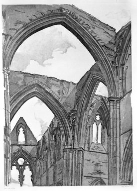 Philip Pearlstein (American, born 1924). <em>Tintern Abbey</em>, 1979. Sugar-lift aquatint and roulette on white wove paper, Plate: 33 3/8 x 23 7/8 in. (84.7 x 60.7 cm). Brooklyn Museum, Gift of Gerald Farber, 80.207.3. © artist or artist's estate (Photo: Brooklyn Museum, 80.207.3_bw.jpg)