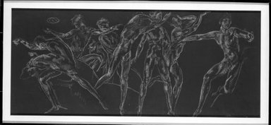 Arthur B. Davies (American, 1862-1928). <em>Untitled Drawing for a Frieze, One of a Pair</em>, n.d. Chalk over graphite with touches of charcoal on black paper(?), Sheet (sight): 21 1/2 x 49 3/8 in. (54.6 x 125.4 cm). Brooklyn Museum, Gift of Mr. and Mrs. Sid Feinberg, 80.208.3. © artist or artist's estate (Photo: Brooklyn Museum, 80.208.3_bw.jpg)