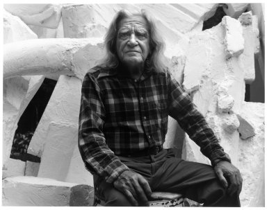 Arthur Mones (American, 1919-1998). <em>Reuben Nakian</em>, 1980. Gelatin silver photograph, 10 1/2 × 13 1/2 in. (26.7 × 34.3 cm). Brooklyn Museum, Gift of Ruth Mones, 80.226.1. © artist or artist's estate (Photo: Brooklyn Museum, 80.226.1_bw.jpg)