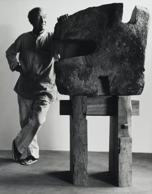 Arthur Mones (American, 1919-1998). <em>Isamu Noguchi</em>, 1980. Gelatin silver photograph, 13 1/2 × 10 1/2 in. (34.3 × 26.7 cm). Brooklyn Museum, Gift of Ruth Mones, 80.226.5. © artist or artist's estate (Photo: Brooklyn Museum, 80.226.5_PS4.jpg)