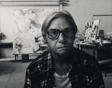 Arthur Mones (American, 1919-1998). <em>Willem de Kooning</em>, 1980. Gelatin silver photograph, 10 1/2 × 13 1/2 in. (26.7 × 34.3 cm). Brooklyn Museum, Gift of Ruth Mones, 80.226.6. © artist or artist's estate (Photo: Brooklyn Museum, 80.226.6_PS4.jpg)