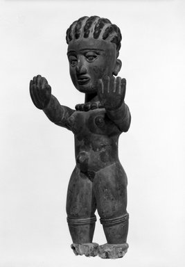 Ibibio (Anang). <em>Female Doll</em>, early 20th century. Wood, pigment, 18 1/2 x 8 1/4 x 6 in. (47.0 x 21.0 x 15.2 cm). Brooklyn Museum, Gift of Jay M. Haft, 80.243.18. Creative Commons-BY (Photo: Brooklyn Museum, 80.243.18_bw.jpg)