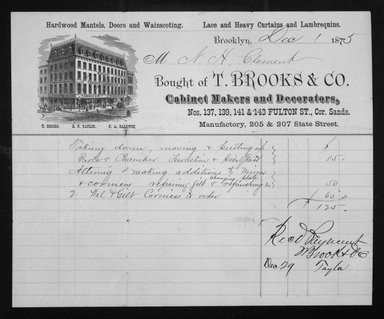 <em>Original Bill of Sale from T. Brooks & Co.</em>, December 1, 1875. Brooklyn Museum, Gift of Allison C. Paulsen in memory of Arthur W. Clement, 80.248.37 (Photo: Brooklyn Museum, 80.248.37_documentation_acetate_bw.jpg)