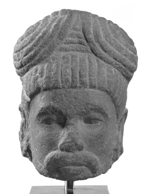 <em>Head of a Saivite Ascetic</em>, ca. 7th-9th century. Limestone, H: 5 in. (12.7 cm). Brooklyn Museum, Gift of Georgia and Michael de Havenon, 80.254.3. Creative Commons-BY (Photo: Brooklyn Museum, 80.254.3_bw.jpg)
