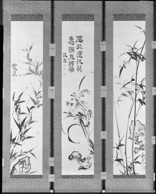 Ike-No Taiga (Japanese, 1723-1776). <em>Bamboo, Chrysanthemums, Orchids, Rocks and Fungus</em>, 18th century. Hanging scroll, ink on paper, (exclusive of mounting): 53 x 11 1/8 in. (134.6 x 28.3 cm). Brooklyn Museum, Gift of Dr. and Mrs. Robert Feinberg, 80.257.2c (Photo: , 80.257.2a-c_bw_IMLS.jpg)