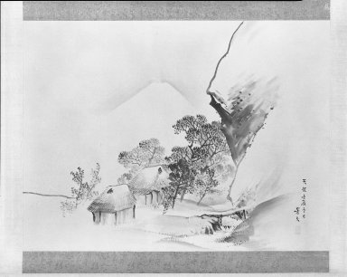 Matsumura Keibun (Japanese, 1779-1843). <em>Winter Landscape with Mt. Fuji</em>, 1832. Hanging scroll, ink and light color wash on paper, 43 13/16 x 58 3/8 in. (111.3 x 148.3 cm). Brooklyn Museum, Gift of Dr. and Mrs. Robert Feinberg, 80.257.3 (Photo: Brooklyn Museum, 80.257.3_bw_IMLS.jpg)