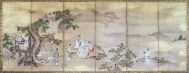 Attributed to Kano Tsunenobu (Japanese, 1636-1713). <em>Hsi Wan Mu and Tung Fang-So</em>, ca. 1710. Pair of six-panel screens, ink and color on paper, 23 1/4 x 55 in. (59.1 x 139.7 cm). Brooklyn Museum, Gift of Dr. John Fleming, 80.258a-b. Creative Commons-BY (Photo: Brooklyn Museum, 80.258.a-b_left_transp4157.jpg)